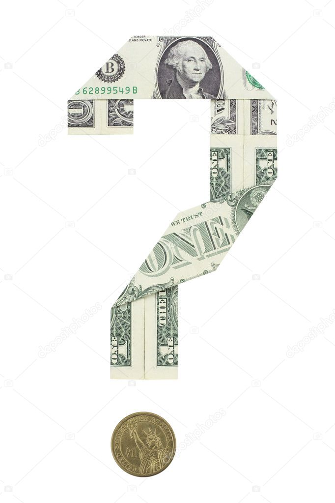 Dollar bills folded in the shape of a question mark. A dollar coin serves as the question mark's dot.  Stock Photo #2040359