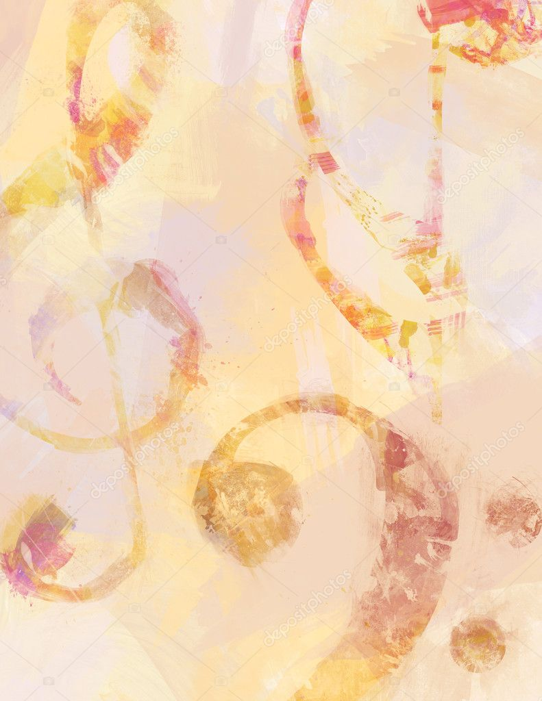 Treble and bass clefs and a single note delineated by brush strokes and dominating a background of brush strokes of milder colors. — Stock Photo #2040414