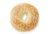 Sesam zaad bagel, van boven gezien — Stockfoto