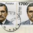 Two old post stamps with Lech Walesa — Stock Photo
