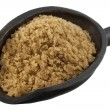Scoop of brown cane sugar - Stock Photo
