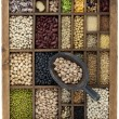 Variety of beans and  in vintage box — Stock Photo