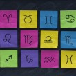 Royalty-Free Stock Photo: Zodiac symbols on sticky notes