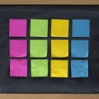 Blank sticky notes on blackboard — Stock Photo