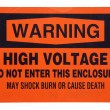 图库照片: High voltage orange warning sign