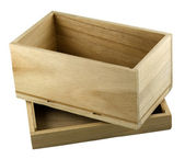 Opened wooden gift box with with a lid — Stock Photo