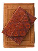Diary books in red brown and red leather — Stock Photo