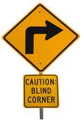 Blind corner turning warning sign — Stock Photo