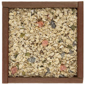 Muesli cereal in a wooden box — Stock Photo