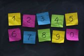 Arabic numerals on colorful sticky notes — Stock Photo