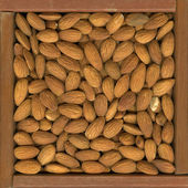 Shelled almond nuts background — Stock Photo