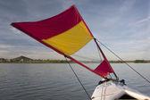 Kayak sail used in adventure race — Stock Photo