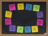 Western zodiac symbols on blackboard — Stock Photo