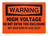 High voltage orange warning sign — Stockfoto