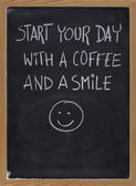 Start your day with coffee and smile — Stock Photo
