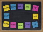 黑板上的十二个月 — 图库照片