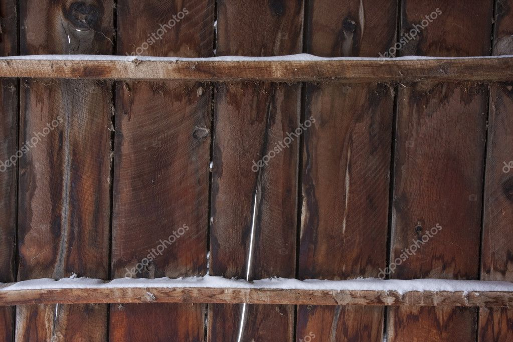 Weathered Wood Of Old Barn In Winter Stock Photo