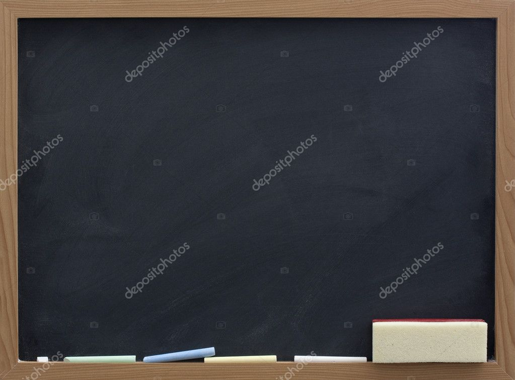 Blank blackboard with eraser and chalk, smudge patterns,  white dust   #2053467