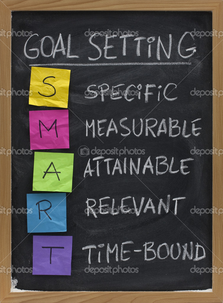 SMART (Specific, Measurable, Attainable, Relevant, Time-bound) goal setting concept presented on blackboard with colorful crumpled sticky notes and white chalk  — Stock Photo #2055604