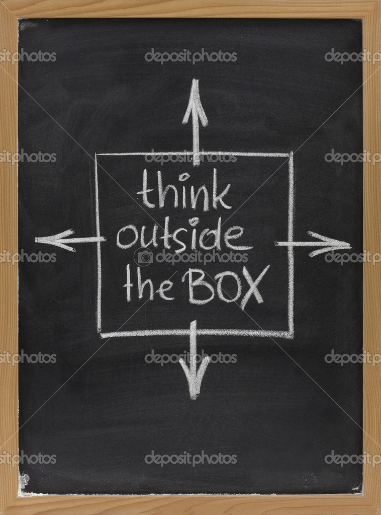 Think outside the box - concept of different or unconventional thinking sketched with white chalk on a blackboard with eraser smudges — Stock Photo #2056820