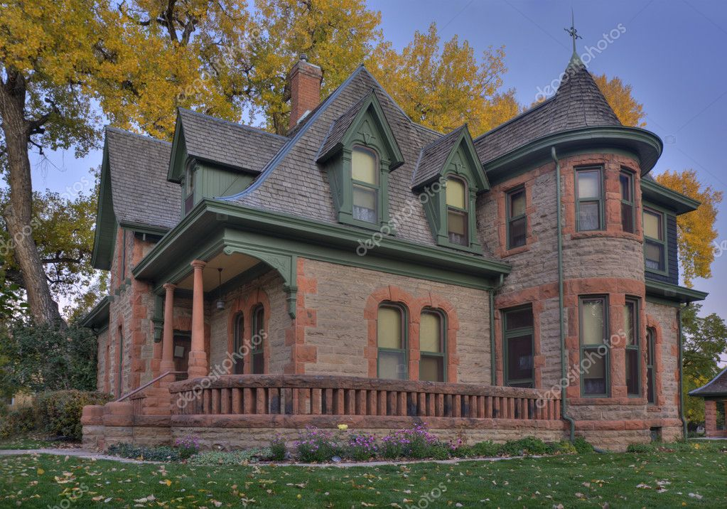 Historical sandstone house in colorado stock photo for Building a home in colorado