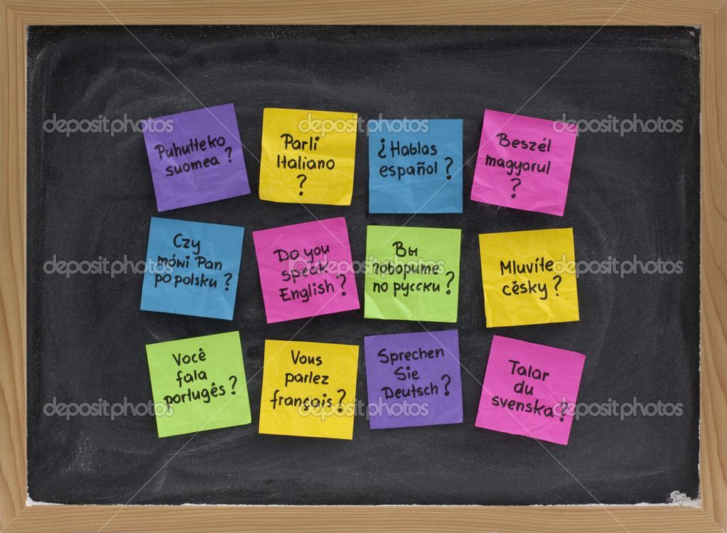 Do you speak question in dozen of languages - colorful sticky notes on blackboard with white chalk smudges  Stock Photo #2057642