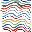 Wavy color lines with pastel crayons - Stock Photo