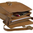 Old leather school bag — Stock Photo