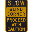 Blind corner warning sign — Stock Photo