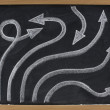Line and arrow abstract on blackboard — Stock Photo #2061836