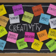 图库照片: Creativity word cloud on blackboard