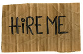 Hire me - cardboard sign — Stock Photo