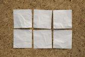 Six blank white reminder notes — Stock Photo