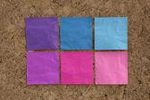 Blue, pink, magenta reminder notes — Stock Photo
