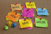 Perguntas sem resposta - brainstorming — Foto Stock