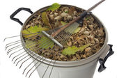 Rake and dry leaves in garbage bin — Stock Photo