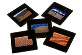 Sand dunes - color slides on a lightbox — Stock Photo