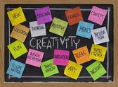Kreativitet ordet molnet på blackboard — Stockfoto