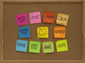 Smiley and ten positive emotions — Stock Photo
