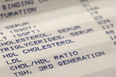Blood and cholesterol screening results — Stock Photo