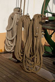 Coiled ropes and winch — Stock Photo