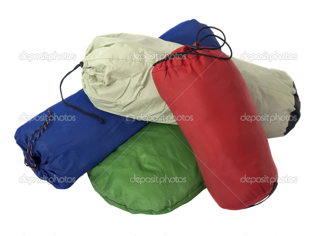 colorful bags with camping equipment stock photo. Black Bedroom Furniture Sets. Home Design Ideas