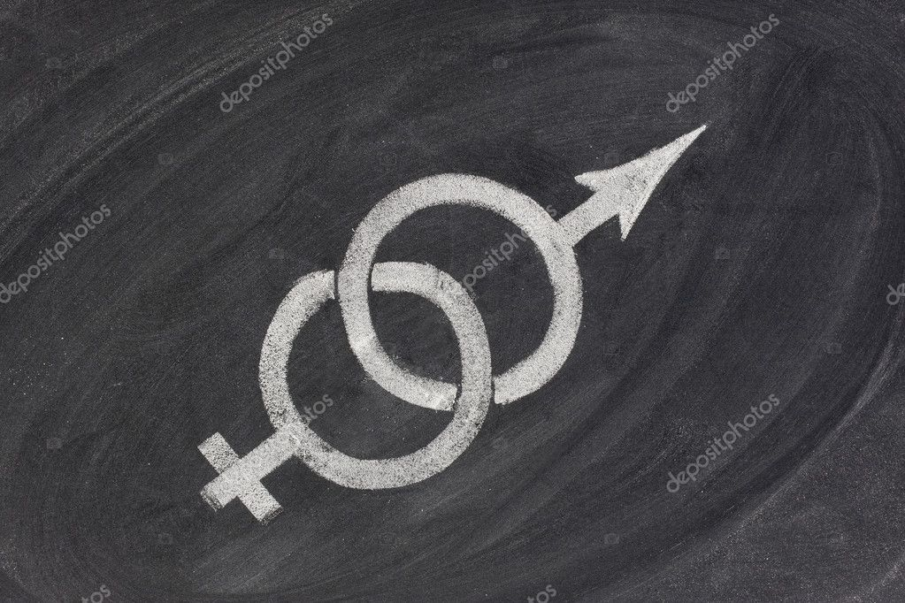 Interlaced gender symbols pulling in opposite directions sketched with white chalk on blackboard - concept of problems in marriage and relationship, gender equa — Stockfoto #2061504