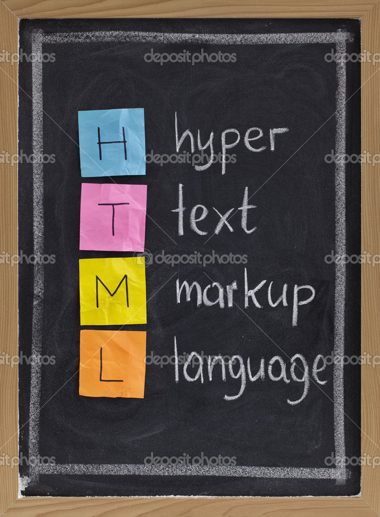 Html (hyper text markup language) acronym explained on blackboard, color sticky notes and white chalk handwriting — Stock Photo #2062148