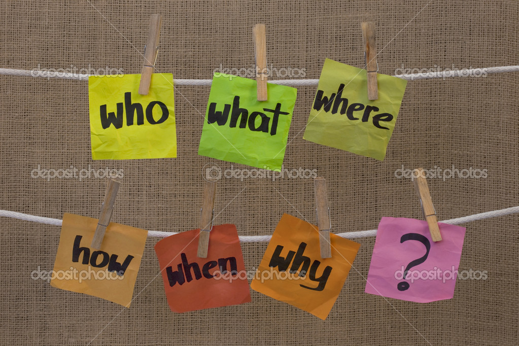 Who, what, where, when, why, how questions - uncertainty, brainstorming or decision making concept, colorful crumpled sticky notes hanging on clothesline agains — Stock Photo #2062278