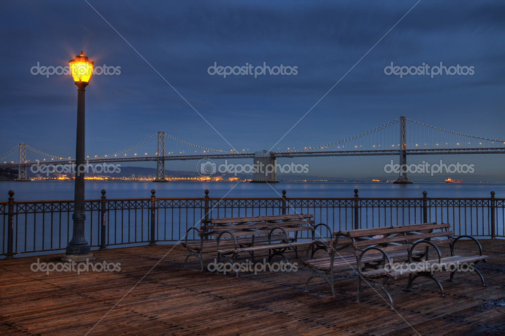 San Francisco at night - Bay Bridge and harbor from Pier 7 — Stok fotoğraf #2062444