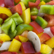 Green, red, yellow pepper, onion and mushrooms d — Stockfoto