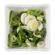 Sliced leeks in a white bowl — Stock Photo
