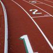 Running tracks with lane numbers — Stock Photo