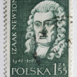 Stock Photo: Sir Isaac Newton on post stamp